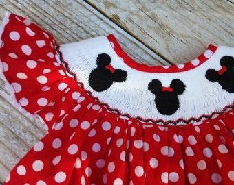 Disney Smocked Dress - Minnie Bishop in Red!
