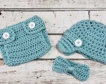 Newborn Baby Boy Photo Prop Handmade Crochet Diaper Cover, Crochet Diaper Cover Hat and Bow Tie Set * Deep Sea