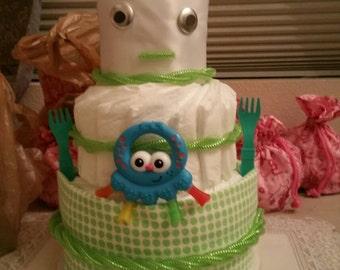 Alien robot diaper cake