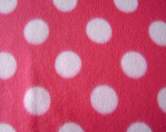 1.5 yards of Hot Pink Polka Dot Fleece Fabric