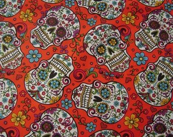 Folkloric Skulls/Red Cotton Fabric by the yard