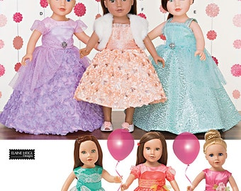 "Simplicity Pattern 1135 Formal Dresses for 18"""" Dolls"
