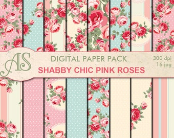 Digital Shabby Chic Pink Roses Paper Pack, 16 printable Digital Scrapbooking papers, retro roses Digital Collage, Instant Download, set 151