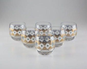 Set of 6 Vintage Double Rocks Bar Glasses with Gold Detailing