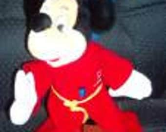 "Vintage Sorcerer Mickey Mouse Plush Doll - 11"" and  Walt Disney FANTASIA Masterpiece Collection Edition home video"