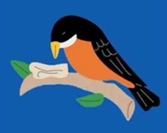 Robin Handcrafted Applique Garden Flag
