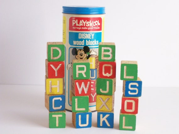 Vintage Wood Blocks, Playskool Disney