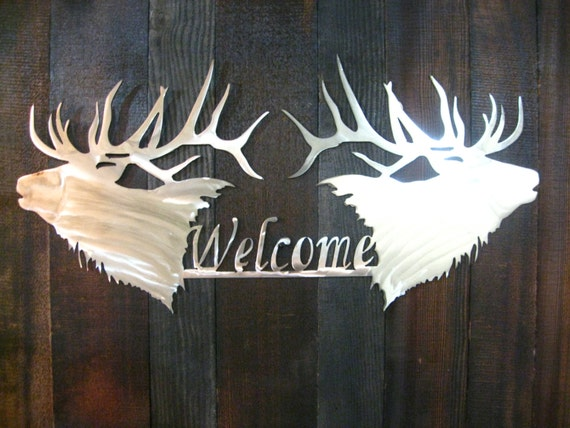 Items Similar To Elk Welcome Sign Metal Art Personalized