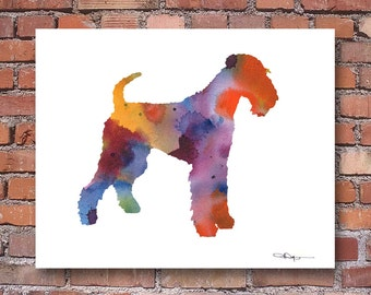 Airedale Terrier Art Print - Abstract Watercolor Painting - Wall Decor