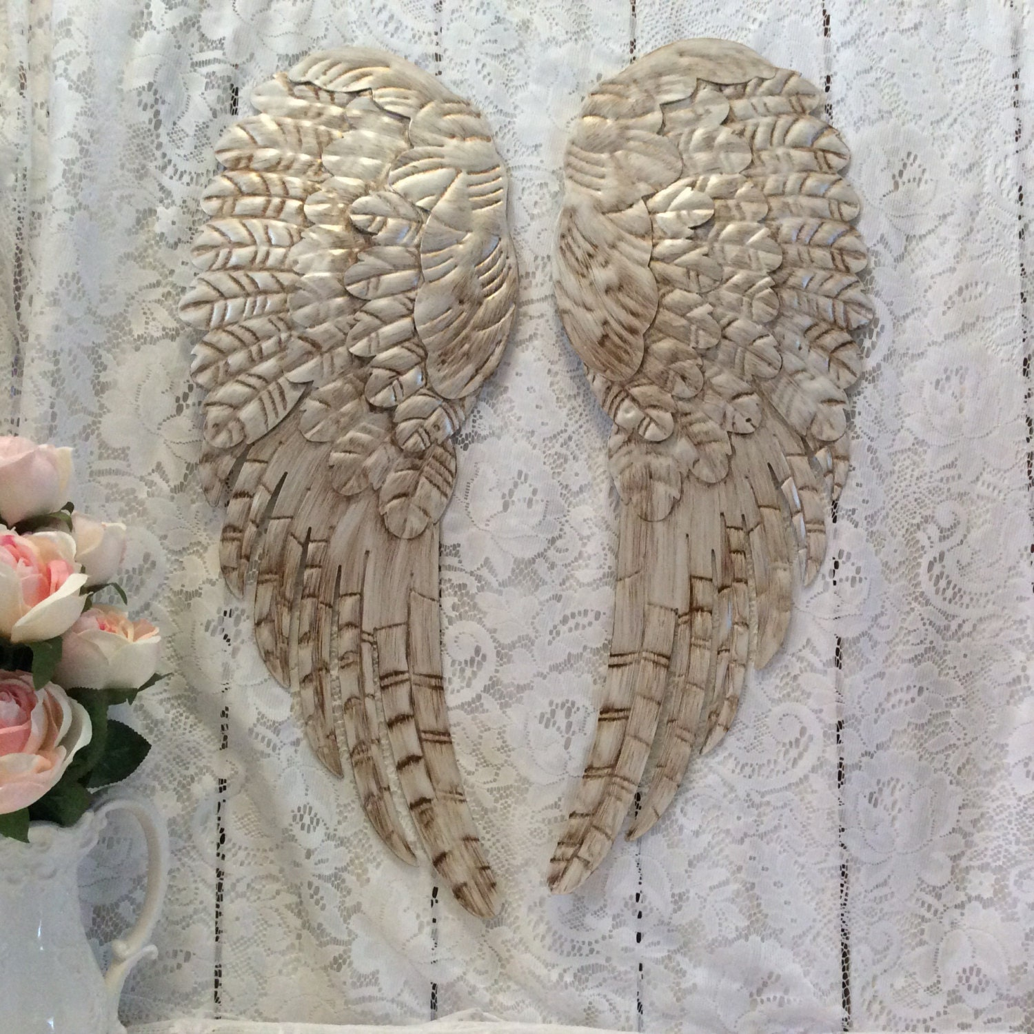 Large metal angel wings wall decor distressed pearl white - Wall decoration with pearls ...