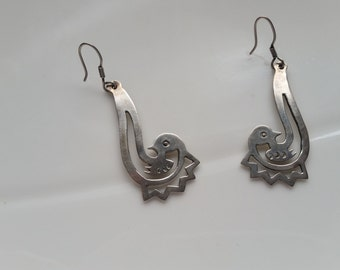 Vintage Sterling Chandelier Bird Earrings made in Mexico