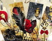 "PRINT BOOKMARKS Digital Collage Sheet, 4 Thematic Printable Digital Bookmarks ""The Secret Garden"" – Digital Scrapbooking, Instant Download"