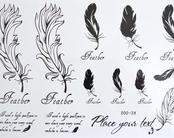 Temporary Tattoos ~ Feathers Mix ~ Body Art