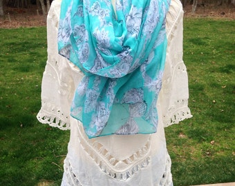 Butterfly Scarf, Aqua Butterfly Scarf, Light Weight Whimsical Scarf