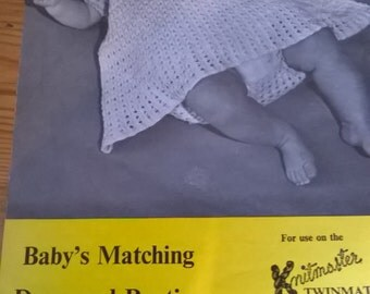 1960s Knitmaster Twinmatic machine knitting pattern 749 for vintage baby dress and matching panties