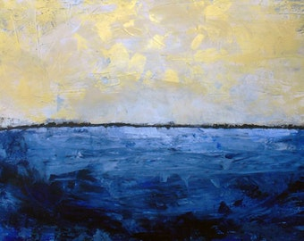 Large Modern Gold and Blue Painting. Road or Water oil painting 24x48""
