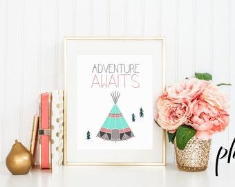 Teepee, Teepee Print, Teepees, Kids Teepee, Wilderness Decor, Art Print, Printables, Printable Art, Nursery Decor, Printable Nursery Art