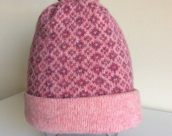 Girl's Knitted Lambswool Fair Isle Hat