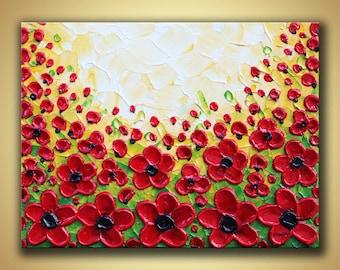 Poppy Painting, Original artwork, Textured painting, Red poppies art, Flower artwork, Poppies painting, 12x16 red canvas art