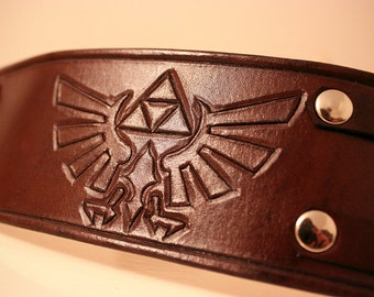 Legend of Zelda inspired Leather Cuff Brown 2.5 Inch
