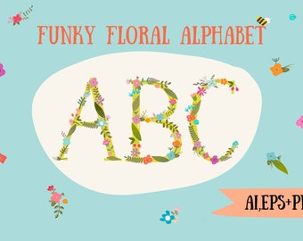 Floral alphabet clip art, floral monogram letter, floral letters, monogram, PNG + VECTOR