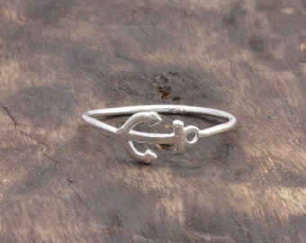 925 stering silver simple anchor band ring (R_00050)