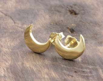 925 vermeil stering silver crescent moon stud earrings (R_00012)