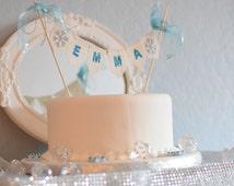 Custom Name Frozen Birthday Cake Topper, Birthday Garland, Eco Friendly, Fabric Banner, Aqua, Mint, Teal, Birthday Party
