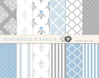 LIGHTBLUE & GREY DAMASK Digital Scrapbooking Paper, digital Vintage Damask Paper in lightblue, grey and white, download, printable - 208