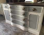 Grey and White Buffet, Dresser, Credenza, Furniture, stained Top