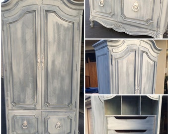 Vintage French Provincial Armoire, white washed, grey, shabby chic