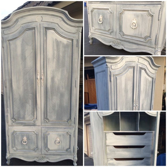 Sample vintage french provincial armoire white washed grey for Armoire de cuisine antique