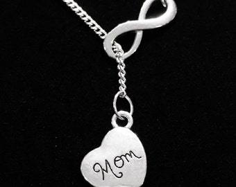Infinity Mom Heart Memory Y Lariat Necklace