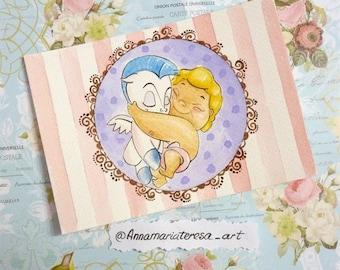 Hercules and Pagasus - Handpainted postcard.