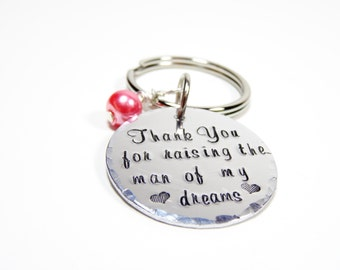Thank you for raising the man of my dreams keychain or necklace: mother in law gift