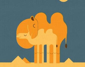 Camel and Calf, Retro Print, Wall Art, Home Decor