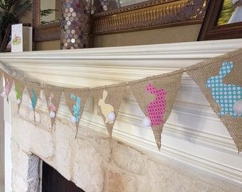 Bunny Easter Banner Bunting -  burlap - baby shower, birthday, nursery