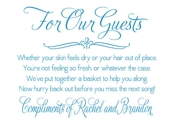 printable wedding bathroom basket sign digital file