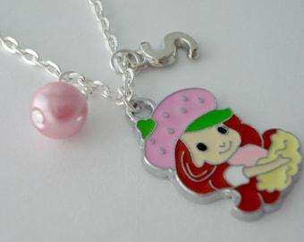 Strawberry Shortcake personalized childrens necklace, strawberry shortcake charm necklace, childrens jewelry, girls,charm jewelry for girls