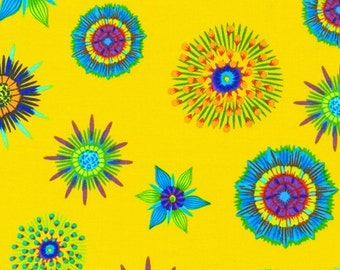 Flower Bursts on Yellow,             Calypso Frog,        Fabri-Quilt #120-6412