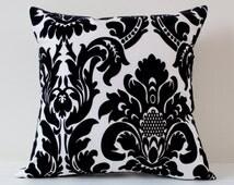 Black and White Damask Flocked Cushion Cover
