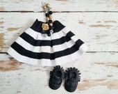 Girls Fashion Black and White Striped Flare Zip Skirt