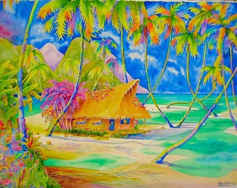 "My Polynesian Hut - 30"" x 22"" on Watercolor Paper"