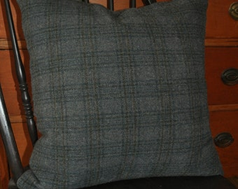 "20"" Blue/Gray Wool Plaid Pillow Cover"