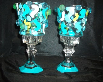 Set of Light Blue Handcrafted Candle Holders