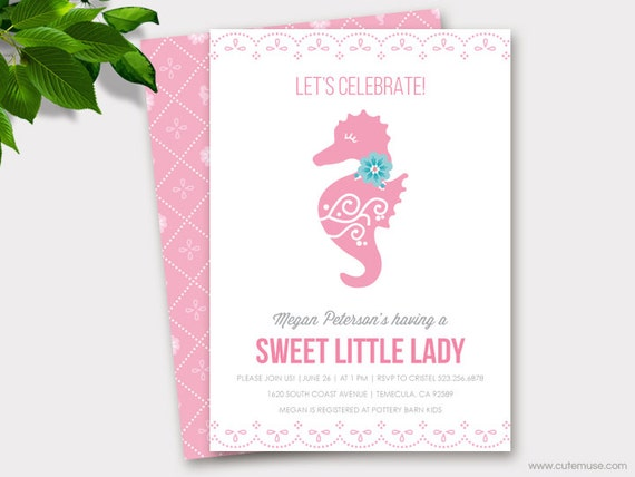 Seahorse Baby Shower Printable Invitation Baby Girl Floral Baby
