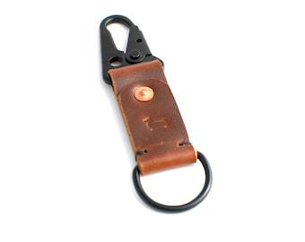 Leather Keychain Dark Brown Military Clip Keychain, Corgi Leather Co. Keychain (Dark Brown)
