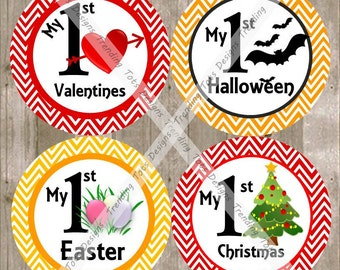 Baby Monthly Milestone Stickers - Baby First Holiday Stickers - Holiday Milestone Stickers - Chevron Holiday Monthly Stickers