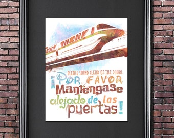 Disney World Monorail 8x10 Poster - DIGITAL DOWNLOAD / Instant Download