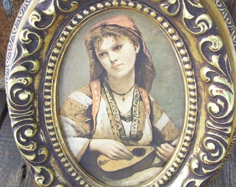 Vintage Girl with Instrument Satin Artwork Oval Gold Frame Retro Mid Century Old Masters on Satin